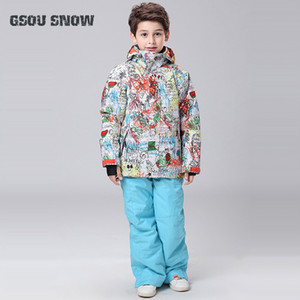 Gsou nieve snowboard al aire libre Childern impermeable y transpirable traje de esquí chaquetas de esquí + Pants Tenga chico caliente a prueba de viento Conjunto Sport traje