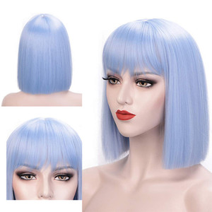 A Dilys Synthetic Short Bob Wigs With Bangs Women `S Shoulder Length Wigs Curly Wavy Synthetic Cosplay Wig Pastel Bob Wig For Women
