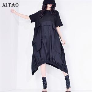 XITAO Patchwork Casual Tassels Dress Women 2020 Summer Tide Fashion New Style O Neck Collar Short Sleeve Draped Loose XJ48180921