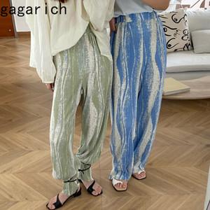 Gagarich donne casuali pantaloni stile coreano Chic estate delle signore di colore banda allentati pantaloni a pieghe vita alta Thin Pantaloni a gamba larga CX200812