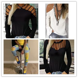 2020 Womens Designer Solid Tshirts Sexy Laides Hollow Out Tees Fashion Women Pullover Long Sleeve Tops