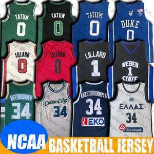NCAA Yunan Takım Giannis 34 Antetokounmpo Jersey Weber Devlet Damian 0 Lillard Jersey Jayson 0 Tatum Formalar Koleji Basketbol Forması