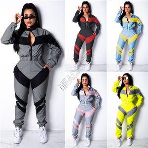 2020 deux Piece Set Vêtements Vestes Pantalons longs Outfit Automne manches Survêtement Color Match Patchwork sport Manteau Hauts D82404 cultures