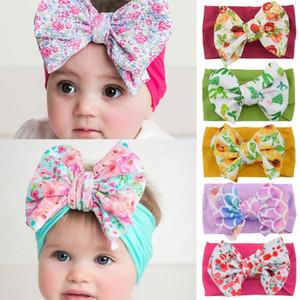 Bow Tie Crianças imprimir Headbands Meninas bowknot Hairbands Macio Nylon Elastic Acessórios de cabelo Headband para Kids Party Favor T500270