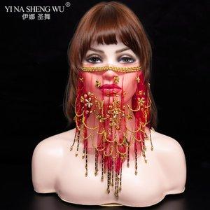 Les femmes \ 'de Belly Tribal Dance Veil face avec costume d'Halloween accessoires Avec Paillettes Bellydance Veils à vendre 9 couleurs disponibles