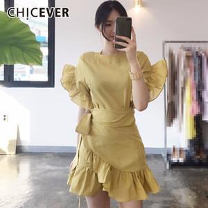 CHICEVER 2020 Sommer-Kleid für Frauen mit hoher Taille Petal Sleeve Adjust dünne kurze Damenkleider Damenkleidung Fashion Korean New