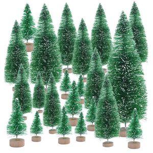 6.5cm에 16cm 작은 장식 된 크리스마스 트리 가짜 소나무 미니 인공 크리스마스 산타 눈 홈 장식