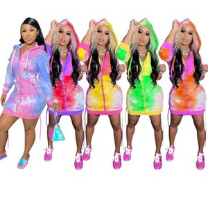 Kadınlar Tasarımcılar Kapüşonlular Coat Uzun Elbiseler Fermuar Hırka Ceket Renk Batik Kapşonlu Hoodie Ceket Uzun Coats tulumları Kabanlar Sıcak D9102