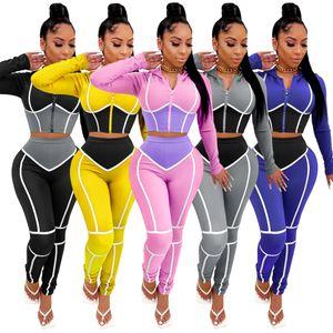 2020 Moda Vestuário Yoga Outono E de Mulheres Winter Contraste Cor apertado Duas peças Mulheres Esportes Fatos Suit
