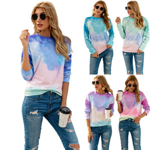 Street Print Loose Pullover Dropped Shoulder Gradient Color Colorful Tie-Dye Knot-Dye Crew Neck Long Sleeves Poly Cotton Women T-Shirt Tops