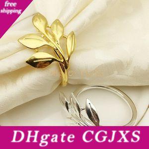 Servilleta de la toalla de la hoja del metal del anillo chapado en oro anillo de servilleta de papel de arce manera de la hebilla de escritorio Decoración del colmillo