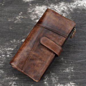 European and American new style men's retro polished top layer cowhide fashion stitching long wallet casual multi-card card holder leather m