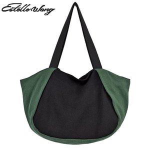 Estelle Wang Eğlence Bez Pamuk Çanta Büyük Kadınlar Casual Kumaş Hobo Panelli Omuz Çantaları Büyük Kapasiteli Alışveriş Çantası WCEGB