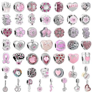 free shipping 50pcs lot(each for one) pink flower european mixed charm bead fit pandora charms bracelet for women diy jewelry M005
