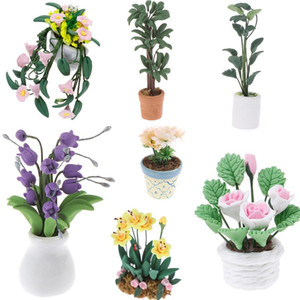 1:12 Doll House Miniatures Mini Potted Plant Flowers Pot DollHouse Decor Bonsai Model Kids Play Toys Fairy Garden Ornament