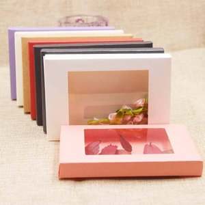 20pcs pink paper gift package Box kraft Candy window box purple arts& crafts package boxes ivory black kraft window display