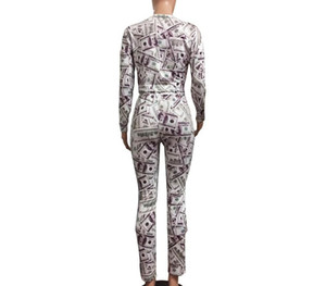 Dollar Printed 2PCS Womens Tracksuits Long Sleeve O Neck Long Pants Ladies Skinny Two Pieces Sets Fashion Female00