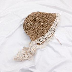 cinturino in stile coreano del sole del pizzo Handmade straw hat spiaggia per bambini fatti a mano estate paglia cappello di viaggio della ragazza