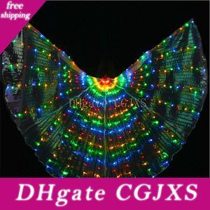 Isis asas coloridas LED com Belly dança da vara Acessórios Stage Desempenho Props Belly Dance Light Up Led Butterfly Wings Mostrar Costume