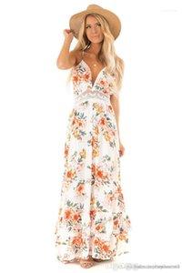 Tasarımcı Backless Bohemian Elbiseler Yaz Çiçek Baskılı Bayan Elbise Bayan V Yaka Dantel Kasetli Giydirme Moda