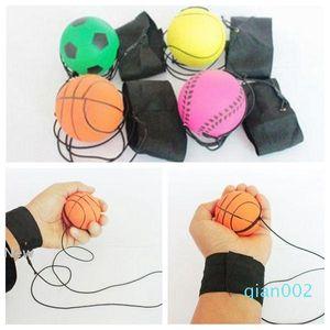63mm Throwing Biorhythm Gummi-Handgelenk-Band Bouncing Balls Kinder Lustige elastische Reaktion Trainingsbälle Anti-Stress-Spielzeug CCA9629 100pcs