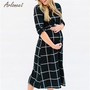 Fashion Black Color Women Pregnant Photography Props Casual Loose Plaid Long Dress Hot drop shipped OB19