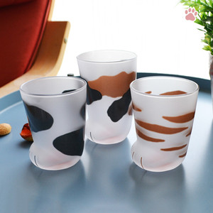 Cute Cat Paws Glass Mugs Creative Breakfast Milk Coffee Drinking Glasses Water Cup Personalized Matte Funny Tiger Paws Wine Mug