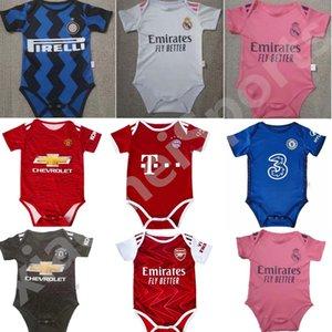 2020 2021 Реал Новорожденного футбола Джерси младенец Манчестер 6-18 месяцев Джерси ребенка BB футбольного болельщика футбол Джерси 20 21 Гения