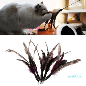 5шт Handmade природного перо Cat Toy Da Bird Refills Interactive Тизер Палочка