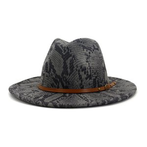 New Arrivals Time-Limited Fashion Designers Woman Fashion Hats Autumn and Winter New Snakeskin Woolen Hat Fashion Big Jazz Free Shipping