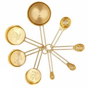 Хлебобулочные инструмент Gold Измерительные Кубки Измерительные Ложки Набор из нержавеющей стали 8 ЧАСТЕЙ сухие и жидкие ингредиенты Кухонная утварь