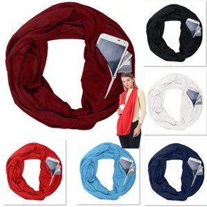 Hot Pocket Scarves For Women Girls Double Layer Infinity Scarf Wrap Hidden Zipper Pocket Travel Scarfs Storage Bib Christmas Gift WX9-1135