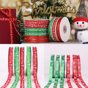 1cm Noël Ruban rouge ruban vert neige Riband vacances Décoration Emballage cadeau bricolage Artisanat Joyeux Noël Accessoires DHC975