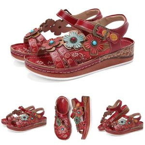 DUUTI Open Toe Vintage Women Sandals Casual Summer Stitching Shoes 2020 New Women Flower Print Ankle Strap Flat Red Sandals D30