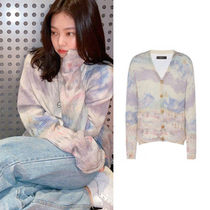 kpop Blackpink JENNIE same Women Autumn warm Casual Long Sleeve Sweater lady Button Cardigan Knitted Sweaters Coat girls clothes