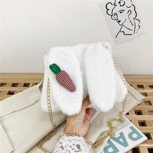 crossbody coreana otoño portátil linda de la nueva bolsa de felpa Tu Tu Er mujeres felpa bolsa e invierno orejas de conejo nuevo todo-fósforo del hombro