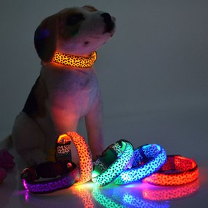 Pet led leopard print luminous collar at night collar adjustable to prevent pet loss