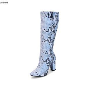 Olomm 2020 hecho a mano de las mujeres de alto de rodilla Botas Botas de tacón cuadrado de punta estrecha elegantes zapatos del modelo azul de la serpiente mujeres de talla Plus de EE.UU. 5-15