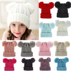 Warm Kids Knit Crochet Beanies Hat Xmas Warm Girls Double Ball Cap Outdoor Pom Ski Cap For Children Christams 12 Color DHL WX9-1611