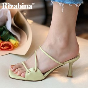 Rizabina 2020 Sommer-Frauen-Sandalen Fashion Spike High Heels Pantoffeln New Design Feste Schuhe Women Casual Schuhe Größe 34-39