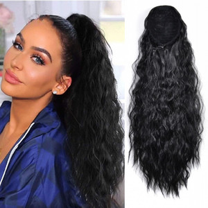 Lady Kinky Curly Ponytail Hair Extension Lastic Mesh Drawstring Design Clip in Hair Piece Horsetail Pony Tail Extensions 55CM,22Inch