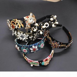 headband fashion temperament pearl leaves flowers cross geometry wild headband dance party accessories 921