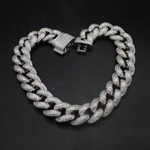Hip Hop personnalisé 3Row CZ Bracelet Collier Glacé CZ Bling 25mm Chaînes chaîne Cuban Link Collier hommes Rue Rock Rap Bijoux guSj #