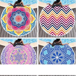 Round Mandala Beach Towels Printed Tapestry Hippy Boho Tablecloth Bohemian Beach Towel Serviette Covers sea Beach Shawl Wrap Yoga Mat A05
