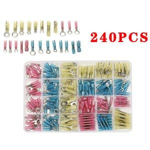 240PCS Heat Shrink Butt Terminals Insulated Electrical Wire Connectors AWG 22-10 Cable Crimping Terminals Connector Kit