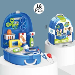 Children Simulation Makeup Jewelry Set Doctor Tools Supermarket Suitcase Kitchen Tableware Play House Backpack Kits Kids Toys Game