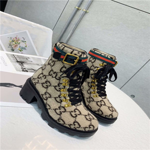 Mujer Botines de cuero grueso tacón botas de Martin zapatos Imprimir la plataforma del cuero desierto con cordones de arranque 1colors 5 cm con la caja