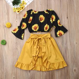 Pudcoco малышей Baby Girl Одежда с плеча Подсолнечное Печать Flare длинным рукавом Crop Топы Пачка Короткие штаны юбка 3шт Наряды Y200829