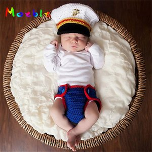 Latest Crochet Newborn Boys Navy Costume Photo Prop Knitted Baby Hat and Diaper Set Photography Props Infant Photo Shoot Clothes