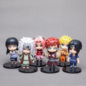 Cartoon Figures Naruto Figures Mini Naruto Cartoon model Kakashi Children birthday gift 6 pcs per set
